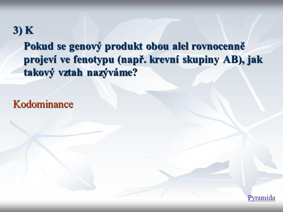 3) K Pokud se genový produkt obou alel rovnocenně projeví ve fenotypu (např. krevní skupiny AB), jak takový vztah nazýváme? Kodominance Pyramida
