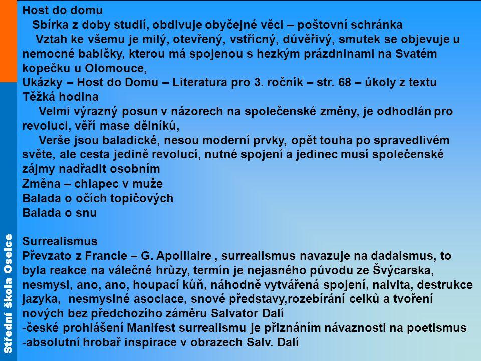Střední škola Oselce Host do domu Sbírka z doby studií, obdivuje obyčejné věci – poštovní schránka Vztah ke všemu je milý, otevřený, vstřícný, důvěřivý, smutek se objevuje u nemocné babičky, kterou má spojenou s hezkým prázdninami na Svatém kopečku u Olomouce, Ukázky – Host do Domu – Literatura pro 3.