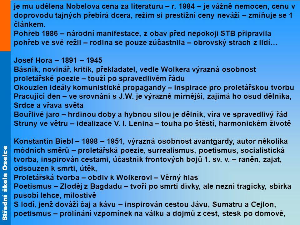 Střední škola Oselce je mu udělena Nobelova cena za literaturu – r.