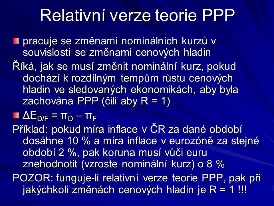 Relativní verze teorie PPP pracuje se změnami nominálních kurzů v souvislosti se změnami cenových hladin Říká, jak se musí změnit nominální kurz, pokud dochází k rozdílným tempům růstu cenových hladin ve sledovaných ekonomikách, aby byla zachována PPP (čili aby R = 1) ΔE D/F = π D – π F Příklad: pokud míra inflace v ČR za dané období dosáhne 10 % a míra inflace v eurozóně za stejné období 2 %, pak koruna musí vůči euru znehodnotit (vzroste nominální kurz) o 8 % POZOR: funguje-li relativní verze teorie PPP, pak při jakýchkoli změnách cenových hladin je R = 1 !!!