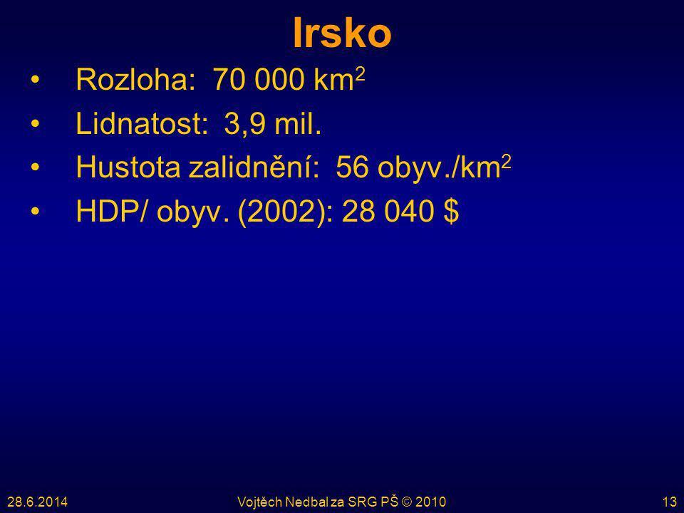 28.6.2014Vojtěch Nedbal za SRG PŠ © 201013 Irsko •Rozloha: 70 000 km 2 •Lidnatost: 3,9 mil. •Hustota zalidnění: 56 obyv./km 2 •HDP/ obyv. (2002): 28 0