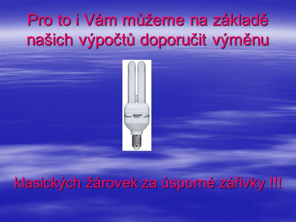 Pro to i Vám můžeme na základě našich výpočtů doporučit výměnu klasických žárovek za úsporné zářivky !!!