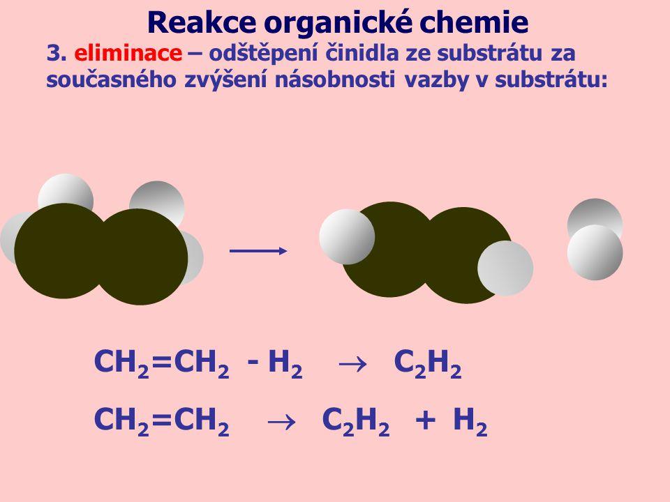 CH 2 =CH 2 - H 2  C 2 H 2 3. eliminace – odštěpení činidla ze substrátu za současného zvýšení násobnosti vazby v substrátu: Reakce organické chemie C