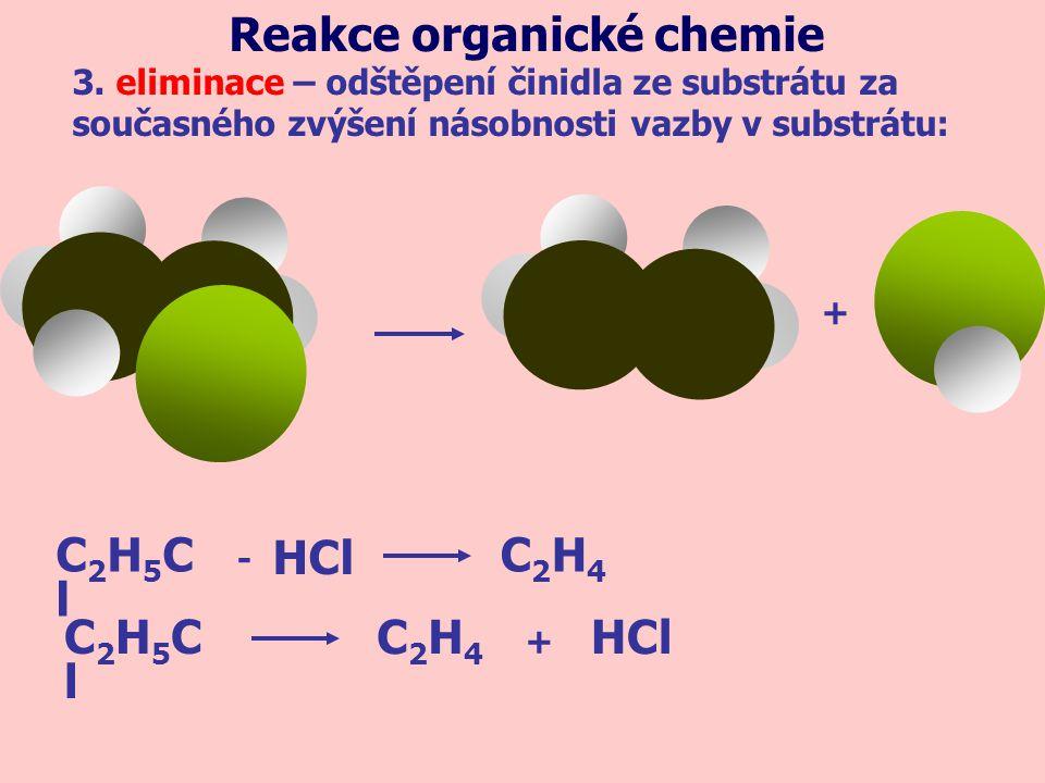 + 3. eliminace – odštěpení činidla ze substrátu za současného zvýšení násobnosti vazby v substrátu: Reakce organické chemie C2H5ClC2H5Cl C2H4C2H4 HCl