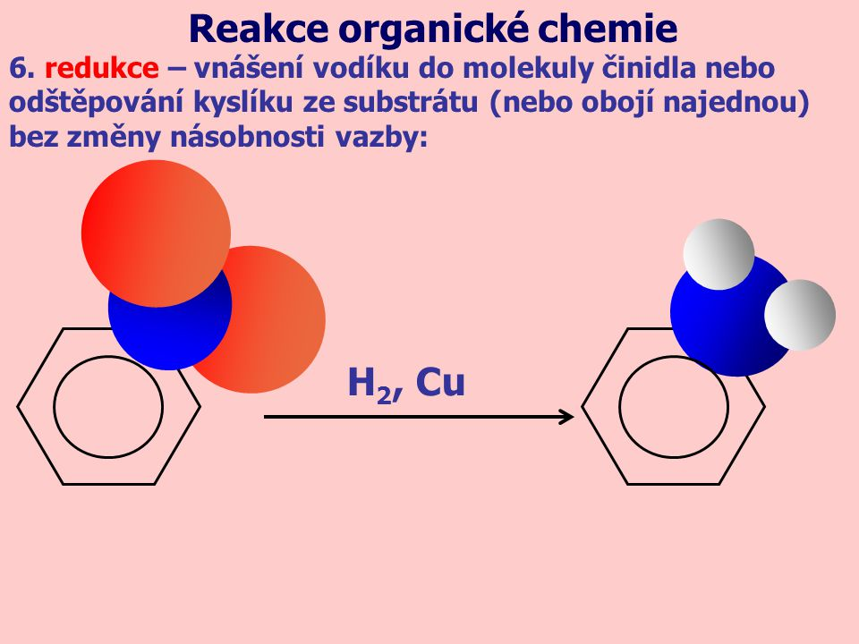 H 2, Cu 6. redukce – vnášení vodíku do molekuly činidla nebo odštěpování kyslíku ze substrátu (nebo obojí najednou) bez změny násobnosti vazby: Reakce