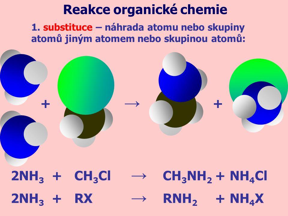 + 2NH 3 CH 3 NH 2 CH 3 ClNH 4 Cl 2NH 3 RXRNH 2 NH 4 X+ ++ + → → → + 1. substituce – náhrada atomu nebo skupiny atomů jiným atomem nebo skupinou atomů: