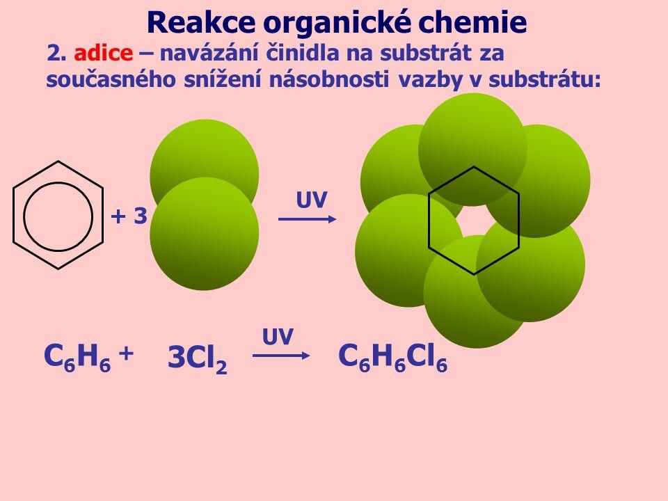 + 3 UV C6H6C6H6 C 6 H 6 Cl 6 3Cl 2 + UV 2. adice – navázání činidla na substrát za současného snížení násobnosti vazby v substrátu: Reakce organické c