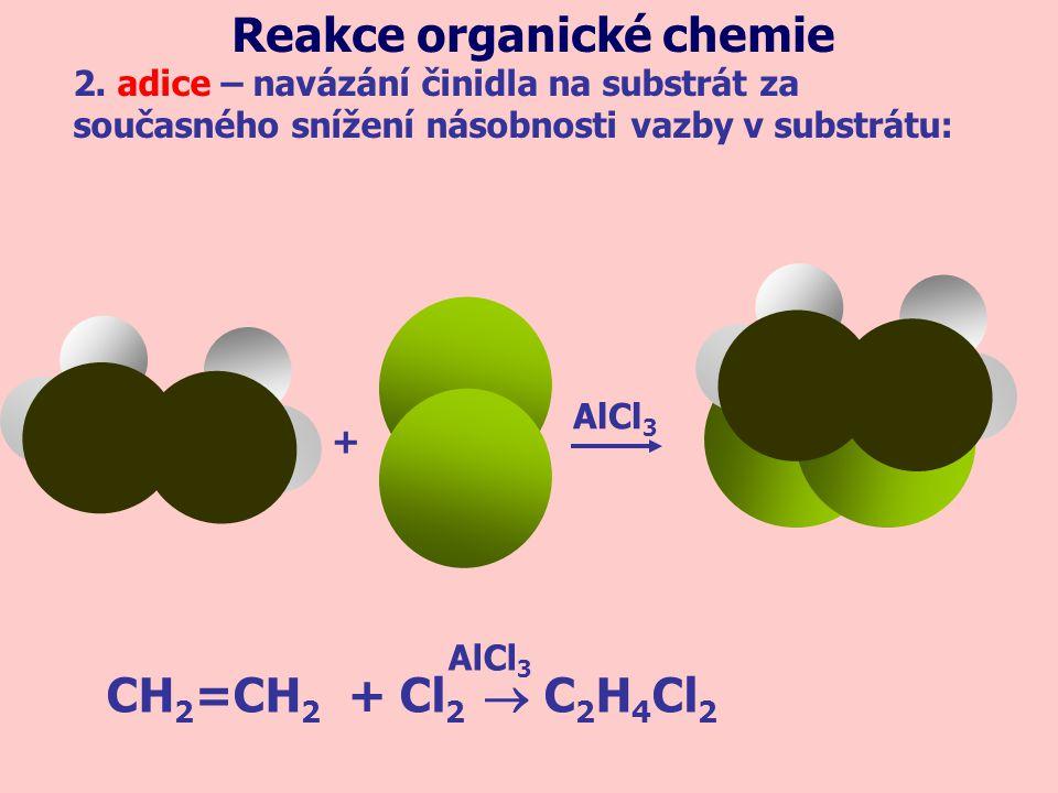 + AlCl 3 CH 2 =CH 2 + Cl 2  C 2 H 4 Cl 2 AlCl 3 2. adice – navázání činidla na substrát za současného snížení násobnosti vazby v substrátu: Reakce or