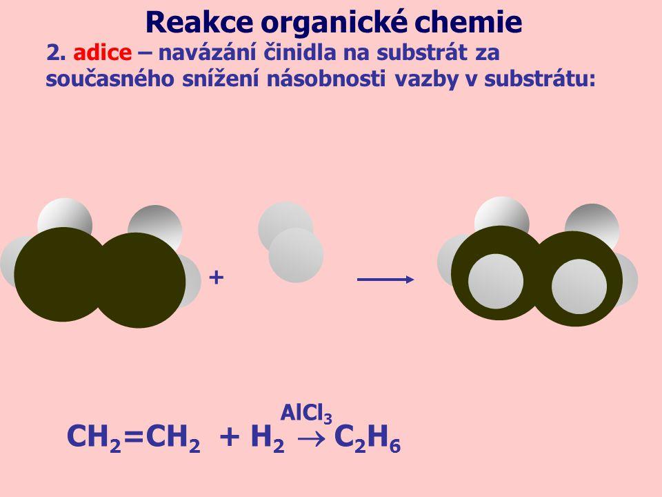 CH 2 =CH 2 + H 2  C 2 H 6 AlCl 3 2. adice – navázání činidla na substrát za současného snížení násobnosti vazby v substrátu: Reakce organické chemie