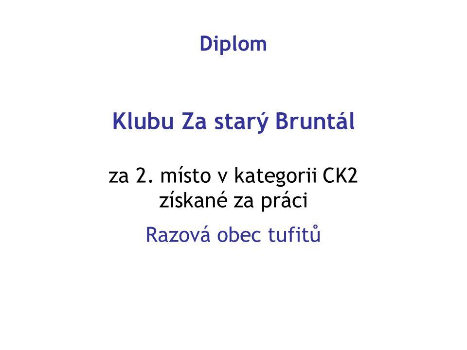 Diplom Klubu Za starý Bruntál za 2. místo v kategorii CK2 získané za práci Razová obec tufitů