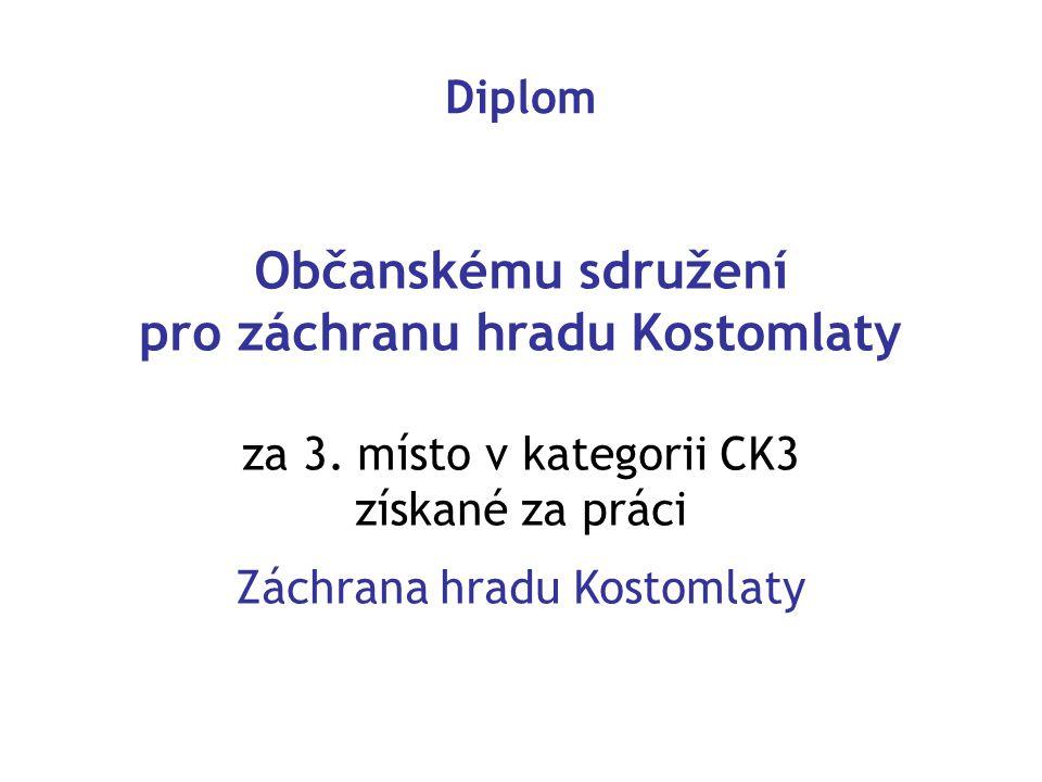 Diplom Občanskému sdružení pro záchranu hradu Kostomlaty za 3. místo v kategorii CK3 získané za práci Záchrana hradu Kostomlaty