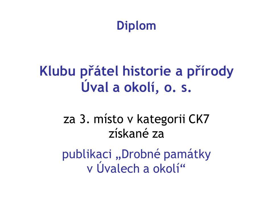 Diplom Klubu přátel historie a přírody Úval a okolí, o.