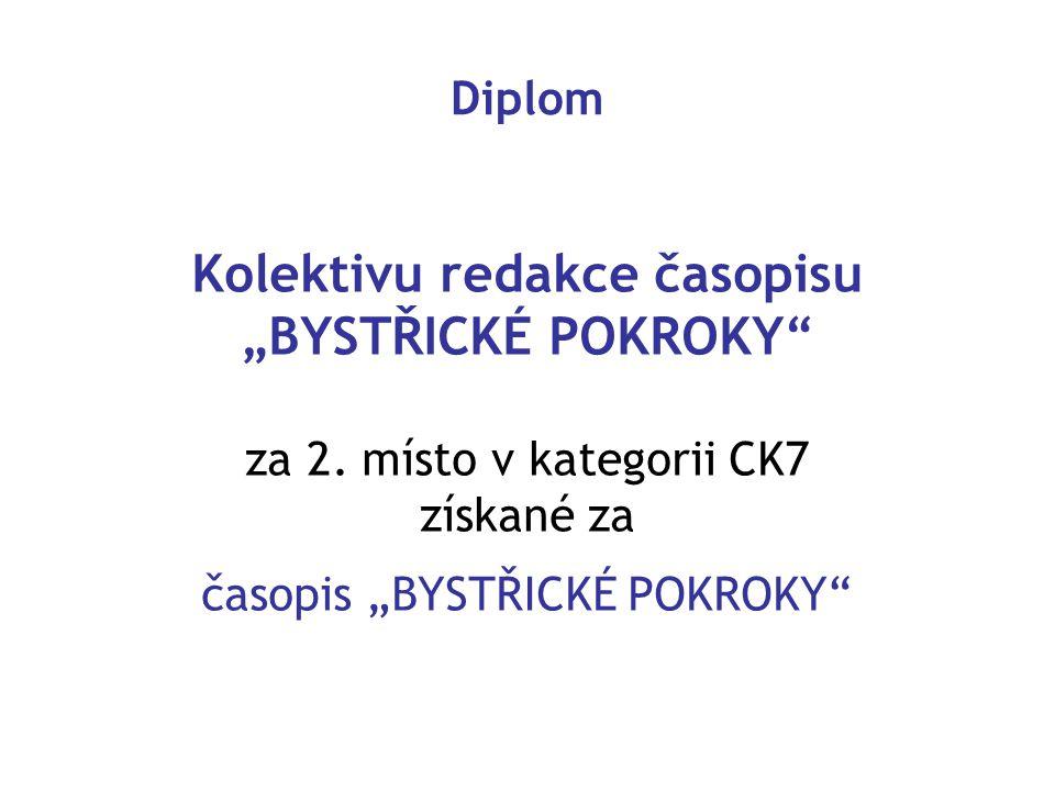 """Diplom Kolektivu redakce časopisu """"BYSTŘICKÉ POKROKY"""" za 2. místo v kategorii CK7 získané za časopis """"BYSTŘICKÉ POKROKY"""""""