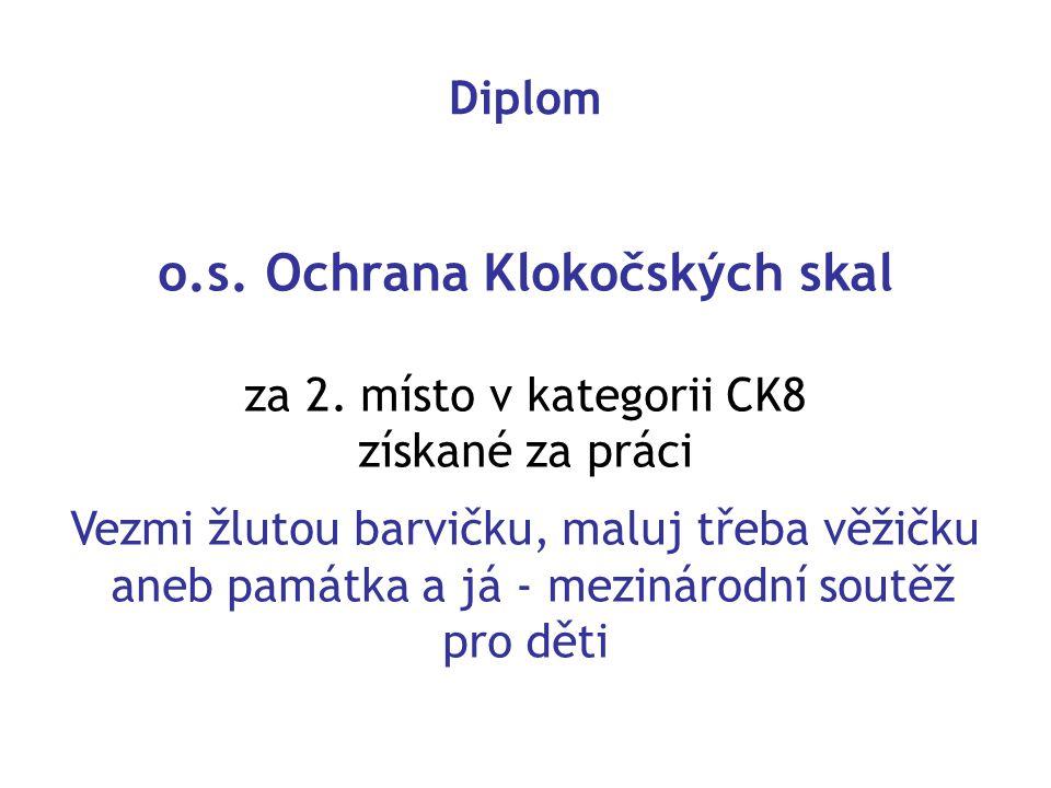 Diplom o.s.Ochrana Klokočských skal za 2.