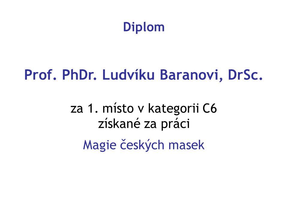 Prof. PhDr. Ludvíku Baranovi, DrSc. za 1. místo v kategorii C6 získané za práci Magie českých masek Diplom