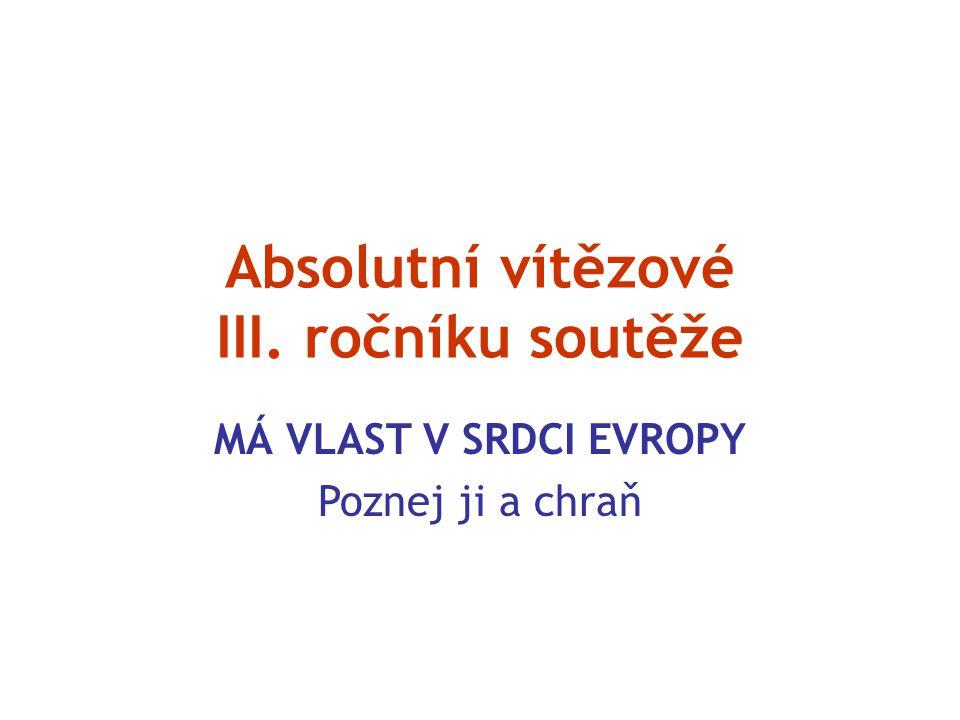 Absolutní vítězové III. ročníku soutěže MÁ VLAST V SRDCI EVROPY Poznej ji a chraň