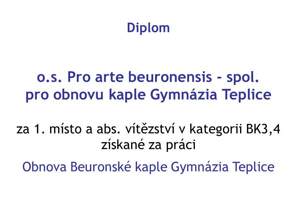 o.s. Pro arte beuronensis - spol. pro obnovu kaple Gymnázia Teplice za 1. místo a abs. vítězství v kategorii BK3,4 získané za práci Obnova Beuronské k