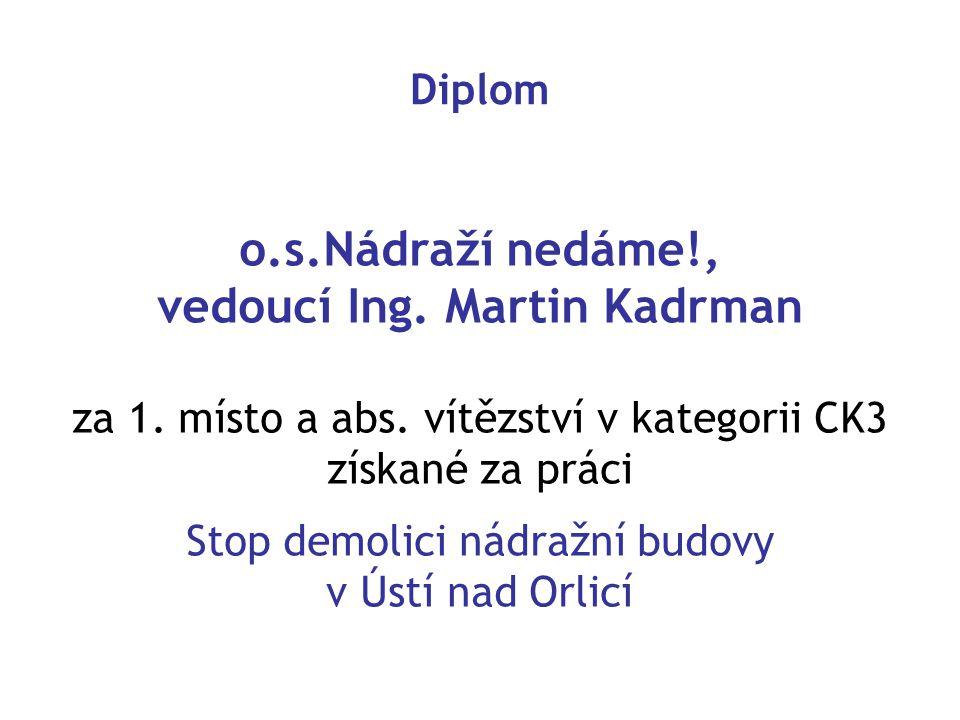 o.s.Nádraží nedáme!, vedoucí Ing. Martin Kadrman za 1. místo a abs. vítězství v kategorii CK3 získané za práci Stop demolici nádražní budovy v Ústí na