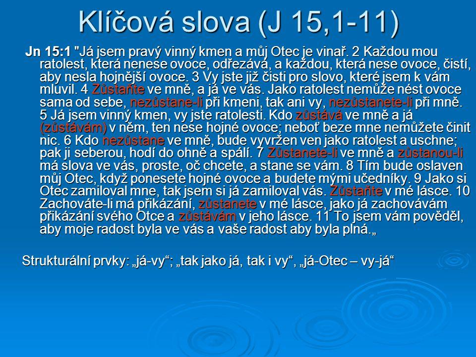 Klíčová slova (J 15,1-11) Jn 15:1
