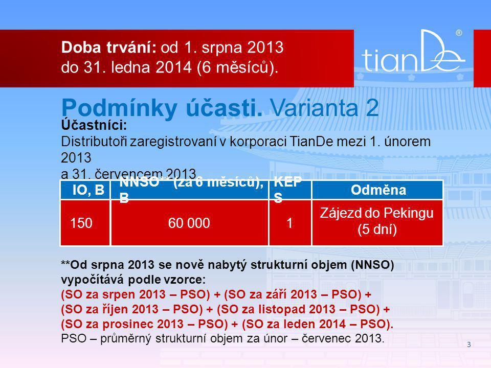 3 Podmínky účasti. Varianta 2 Účastníci: Distributoři zaregistrovaní v korporaci TianDe mezi 1.