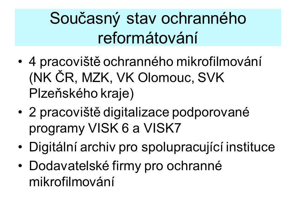 Současný stav ochranného reformátování •4 pracoviště ochranného mikrofilmování (NK ČR, MZK, VK Olomouc, SVK Plzeňského kraje) •2 pracoviště digitaliza