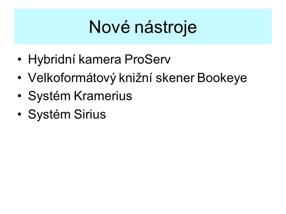 Nové nástroje •Hybridní kamera ProServ •Velkoformátový knižní skener Bookeye •Systém Kramerius •Systém Sirius