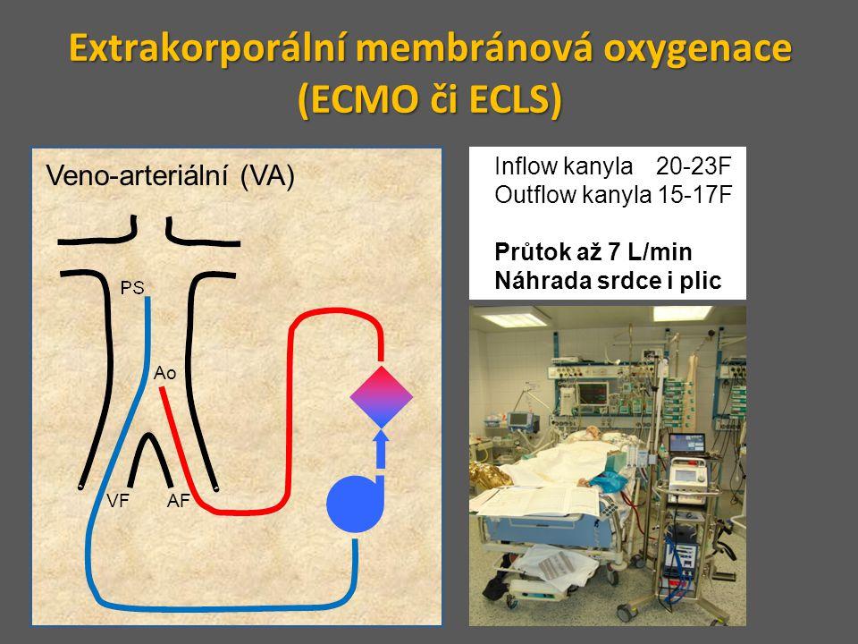 Extrakorporální membránová oxygenace (ECMO či ECLS) Veno-arteriální (VA) Inflow kanyla 20-23F Outflow kanyla 15-17F Průtok až 7 L/min Náhrada srdce i
