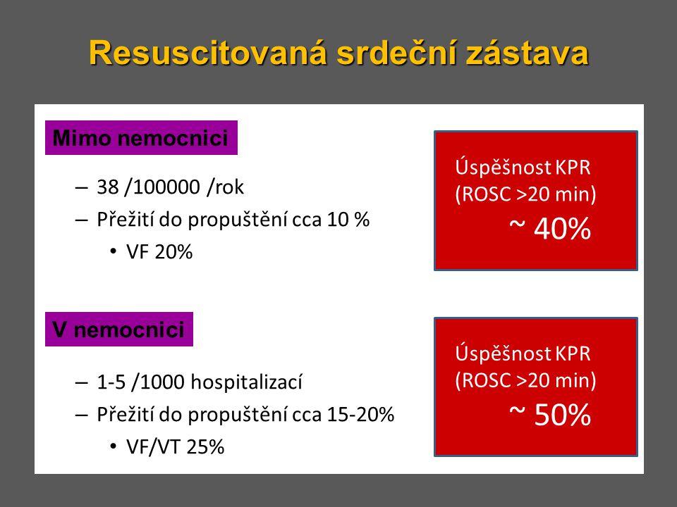 Resuscitovaná srdeční zástava – 38 /100000 /rok – Přežití do propuštění cca 10 % • VF 20% – 1-5 /1000 hospitalizací – Přežití do propuštění cca 15-20%