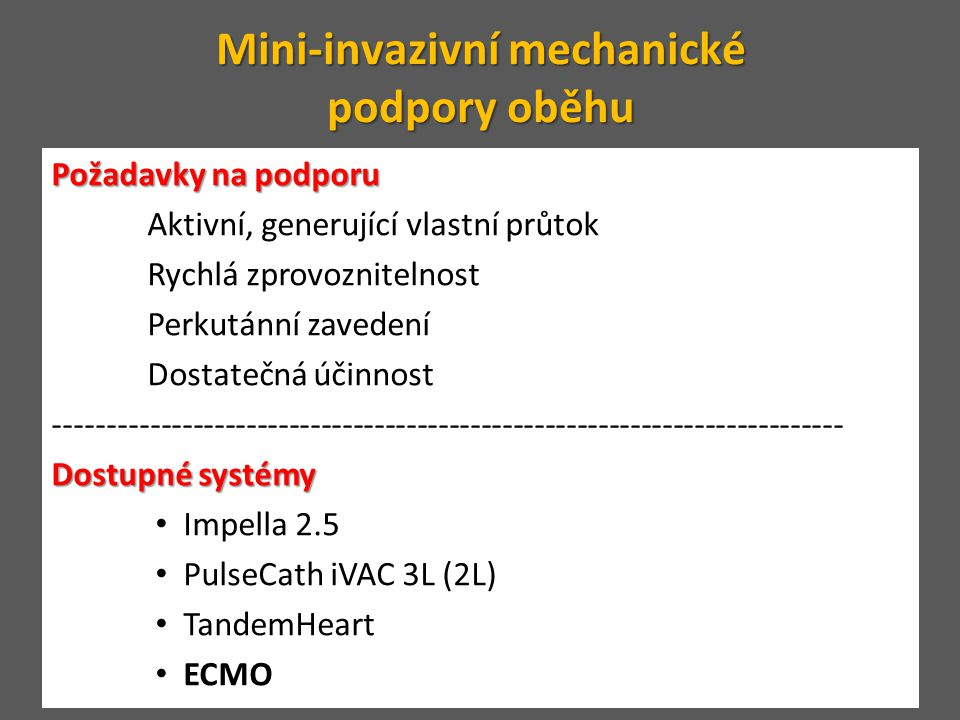 Věk (> 70 let) No-flow (> 5 min) Délka KPR (> 30 min) pH (< 6.9) Laktát (> 16.3 mmol/L) Negativní ECMO – refrakterní srdeční zástava prediktory prognózy prediktory prognózy fibrilace komor nemocniční zástava Pozitivní Assad Haneyaa, ∗, Alois Philipp, Claudius Dieza, Resuscitation 83 (2012) 1331– 1337