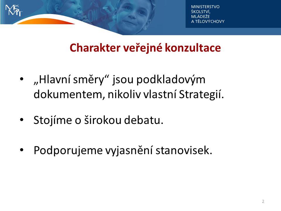 """2 Charakter veřejné konzultace • """"Hlavní směry"""" jsou podkladovým dokumentem, nikoliv vlastní Strategií. • Stojíme o širokou debatu. • Podporujeme vyja"""