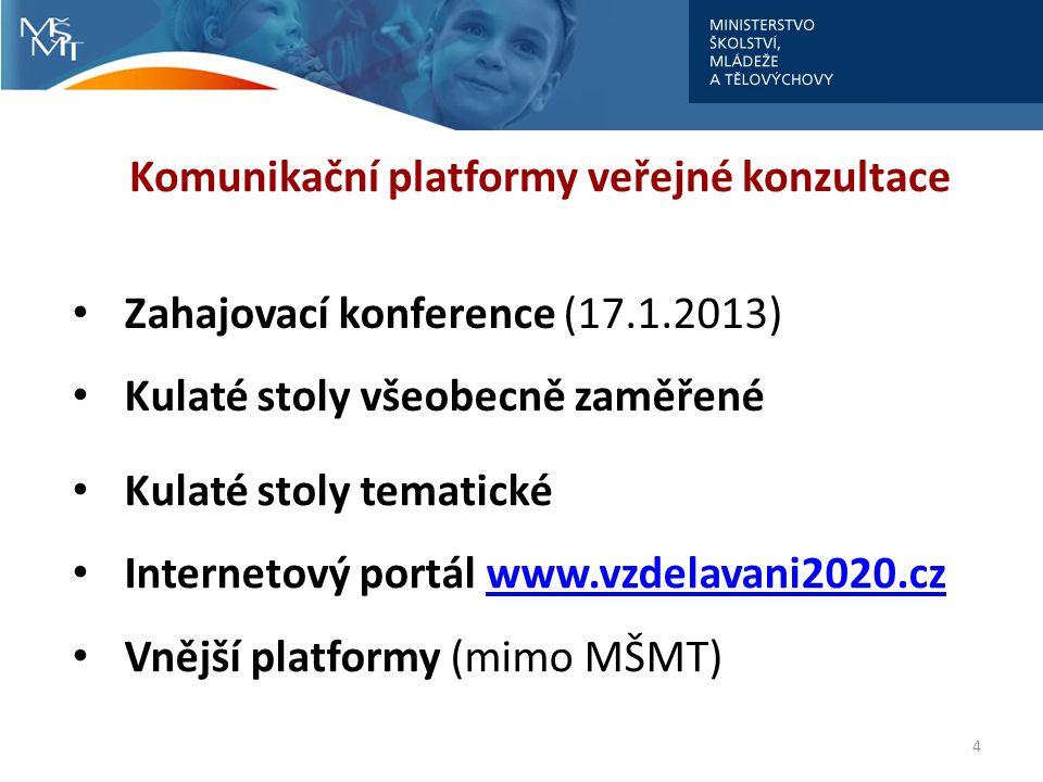 4 Komunikační platformy veřejné konzultace • Zahajovací konference (17.1.2013) • Kulaté stoly všeobecně zaměřené • Kulaté stoly tematické • Internetov