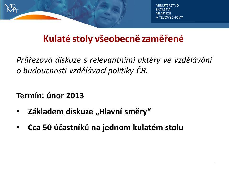5 Kulaté stoly všeobecně zaměřené Průřezová diskuze s relevantními aktéry ve vzdělávání o budoucnosti vzdělávací politiky ČR. Termín: únor 2013 • Zákl