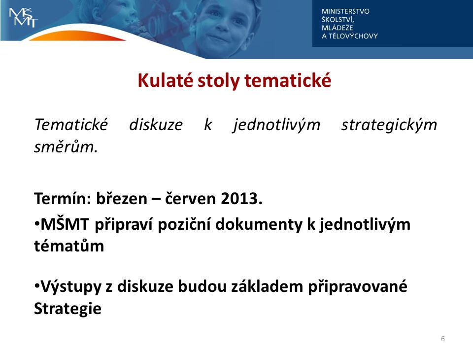 6 Kulaté stoly tematické Tematické diskuze k jednotlivým strategickým směrům. Termín: březen – červen 2013. • MŠMT připraví poziční dokumenty k jednot