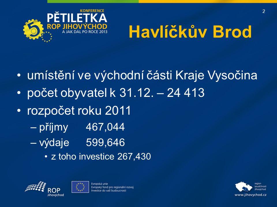 2 Havlíčkův Brod •umístění ve východní části Kraje Vysočina •počet obyvatel k 31.12.