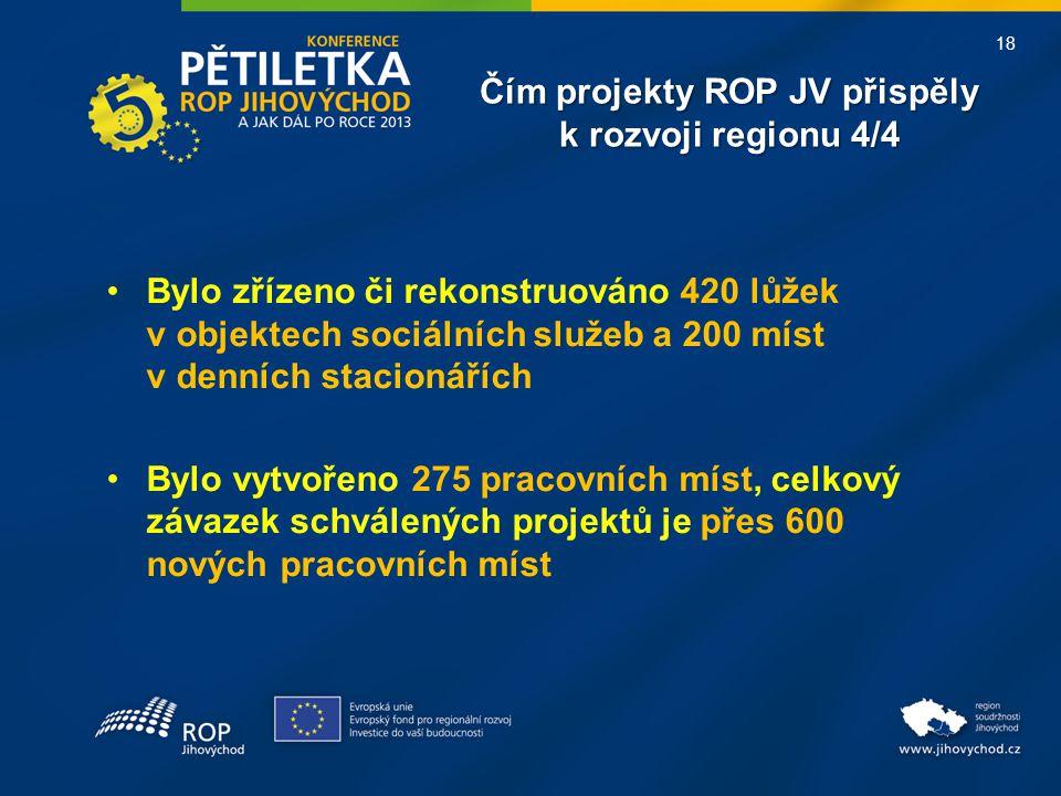 18 Čím projekty ROP JV přispěly k rozvoji regionu 4/4 •Bylo zřízeno či rekonstruováno 420 lůžek v objektech sociálních služeb a 200 míst v denních stacionářích •Bylo vytvořeno 275 pracovních míst, celkový závazek schválených projektů je přes 600 nových pracovních míst
