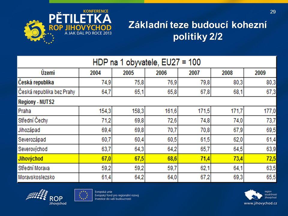 29 Základní teze budoucí kohezní politiky 2/2