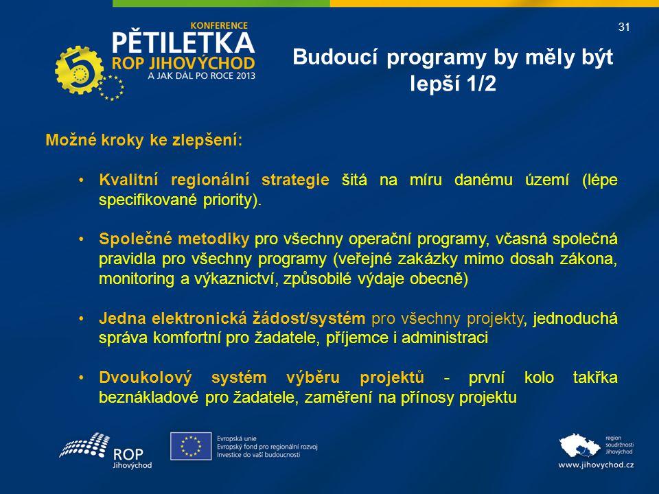 31 Budoucí programy by měly být lepší 1/2 Možné kroky ke zlepšení: •Kvalitní regionální strategie šitá na míru danému území (lépe specifikované priori