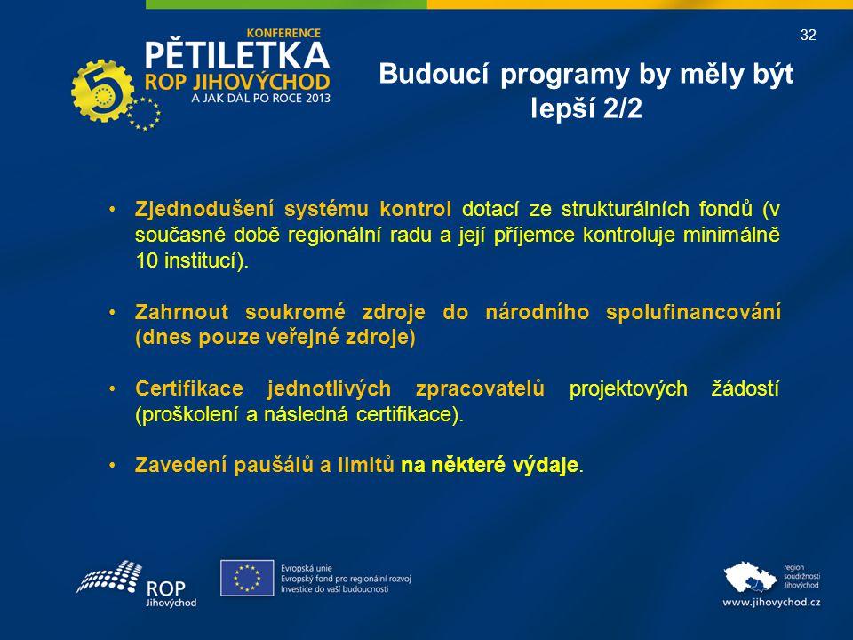 32 Budoucí programy by měly být lepší 2/2 •Zjednodušení systému kontrol dotací ze strukturálních fondů (v současné době regionální radu a její příjemc