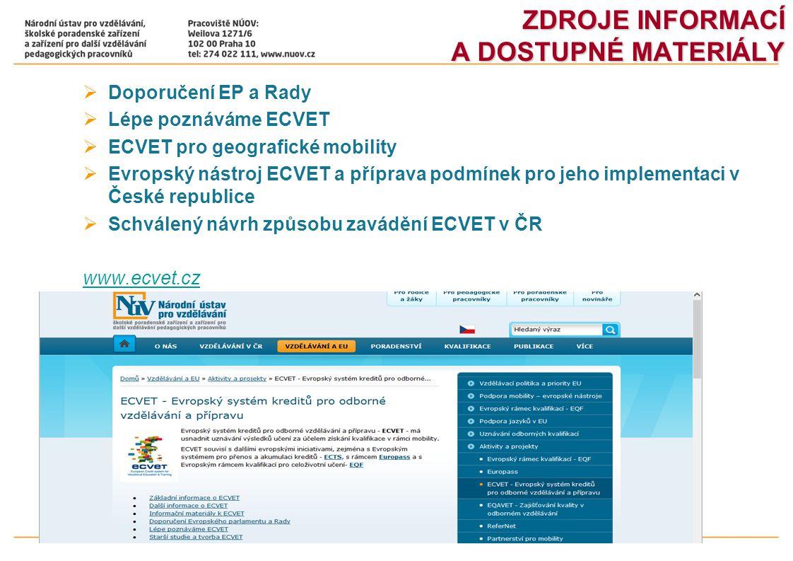 ZDROJE INFORMACÍ A DOSTUPNÉ MATERIÁLY  Doporučení EP a Rady  Lépe poznáváme ECVET  ECVET pro geografické mobility  Evropský nástroj ECVET a přípra