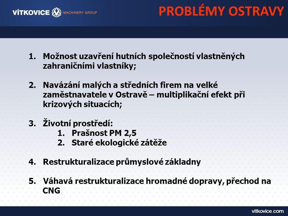 1.Možnost uzavření hutních společností vlastněných zahraničními vlastníky; 2.Navázání malých a středních firem na velké zaměstnavatele v Ostravě – multiplikační efekt při krizových situacích; 3.Životní prostředí: 1.Prašnost PM 2,5 2.Staré ekologické zátěže 4.Restrukturalizace průmyslové základny 5.