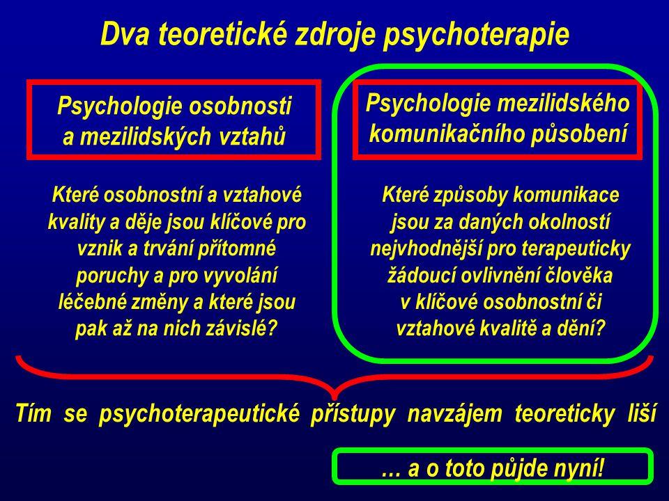 Dva teoretické zdroje psychoterapie Psychologie osobnosti a mezilidských vztahů Psychologie mezilidského komunikačního působení Které osobnostní a vztahové kvality a děje jsou klíčové pro vznik a trvání přítomné poruchy a pro vyvolání léčebné změny a které jsou pak až na nich závislé.