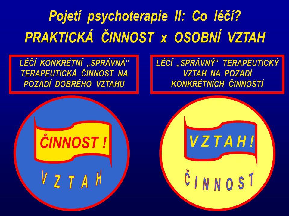 Pojetí psychoterapie II: Co léčí. PRAKTICKÁ ČINNOST x OSOBNÍ VZTAH ČINNOST .