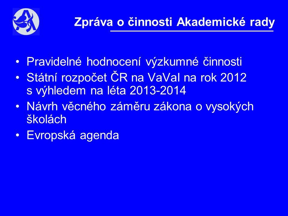 •Pravidelné hodnocení výzkumné činnosti •Státní rozpočet ČR na VaVaI na rok 2012 s výhledem na léta 2013-2014 •Návrh věcného záměru zákona o vysokých školách •Evropská agenda Zpráva o činnosti Akademické rady