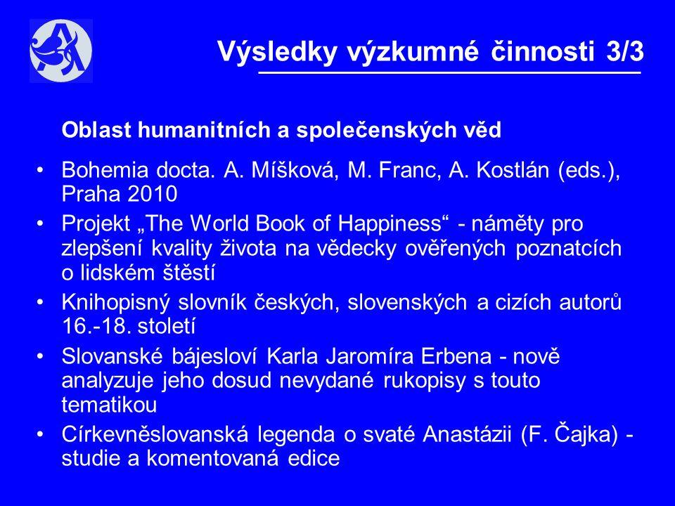 Oblast humanitních a společenských věd •Bohemia docta.