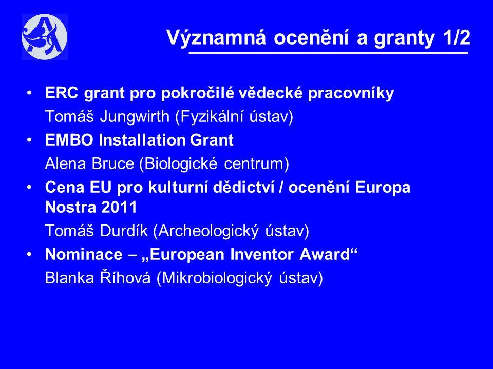 """•ERC grant pro pokročilé vědecké pracovníky Tomáš Jungwirth (Fyzikální ústav) •EMBO Installation Grant Alena Bruce (Biologické centrum) •Cena EU pro kulturní dědictví / ocenění Europa Nostra 2011 Tomáš Durdík (Archeologický ústav) •Nominace – """"European Inventor Award Blanka Říhová (Mikrobiologický ústav) Významná ocenění a granty 1/2"""