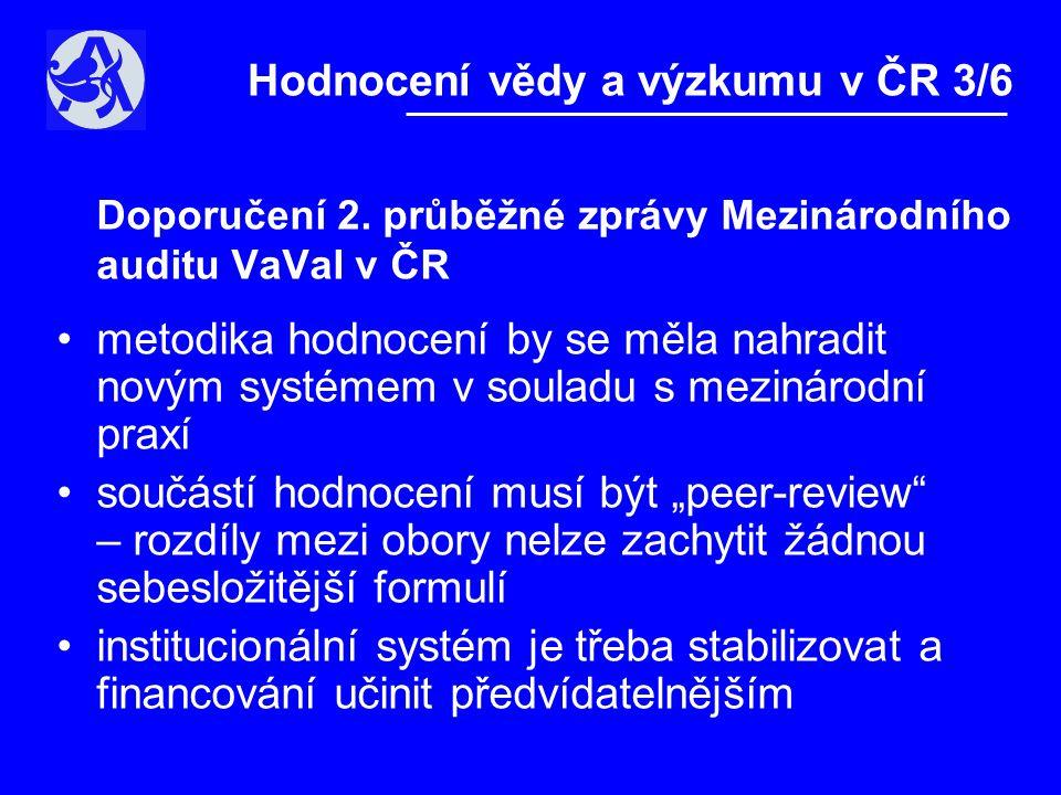 """Systém hodnocení v AV ČR •uvažuje prospektivní i retrospektivní aspekty výkonnosti •respektuje oborové odlišnosti •zohledňuje sebehodnocení týmů •kombinuje kvantitativní a kvalitativní údaje •obsahuje """"peer-review hodnocení zahraničními posuzovateli •měří kvalitu srovnáním se světem Hodnocení vědy a výzkumu v ČR 4/6"""