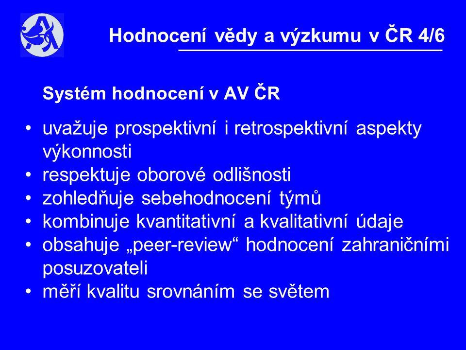 Systém hodnocení v AV ČR •I.