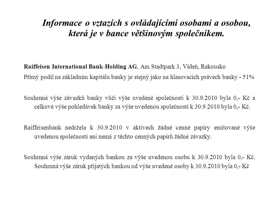 Informace o vztazích s ovládajícími osobami a osobou, která je v bance většinovým společníkem.