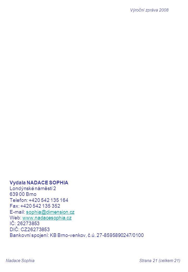 Vydala NADACE SOPHIA Londýnské náměstí 2 639 00 Brno Telefon: +420 542 135 164 Fax: +420 542 135 352 E-mail: sophia@dimension.czsophia@dimension.cz Web: www.nadacesophia.czwww.nadacesophia.cz IČ: 26273853 DIČ: CZ26273853 Bankovní spojení: KB Brno-venkov, č.ú.