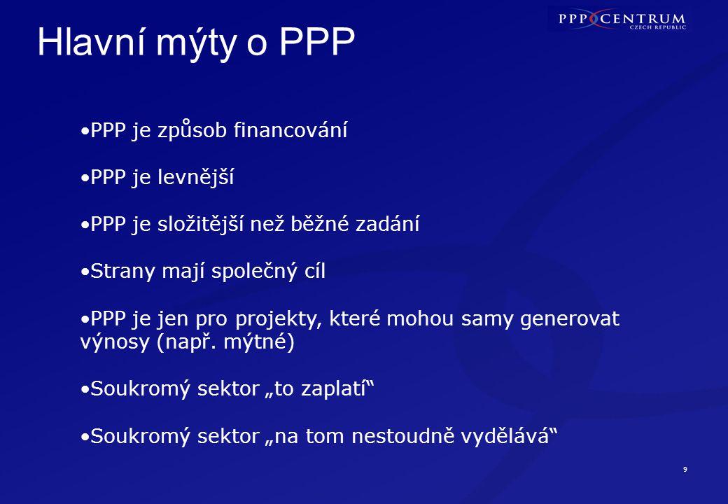 9 Hlavní mýty o PPP •PPP je způsob financování •PPP je levnější •PPP je složitější než běžné zadání •Strany mají společný cíl •PPP je jen pro projekty, které mohou samy generovat výnosy (např.